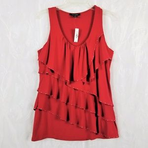 White House Black Market Sz M Layered Red Top